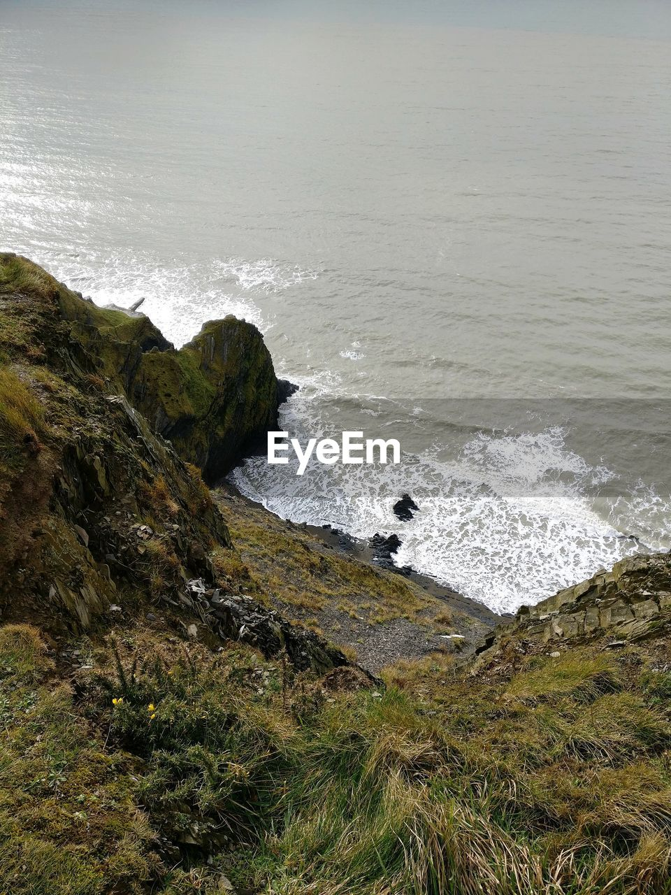 sea, nature, water, beauty in nature, rock - object, high angle view, no people, scenics, day, outdoors, wave, grass, force