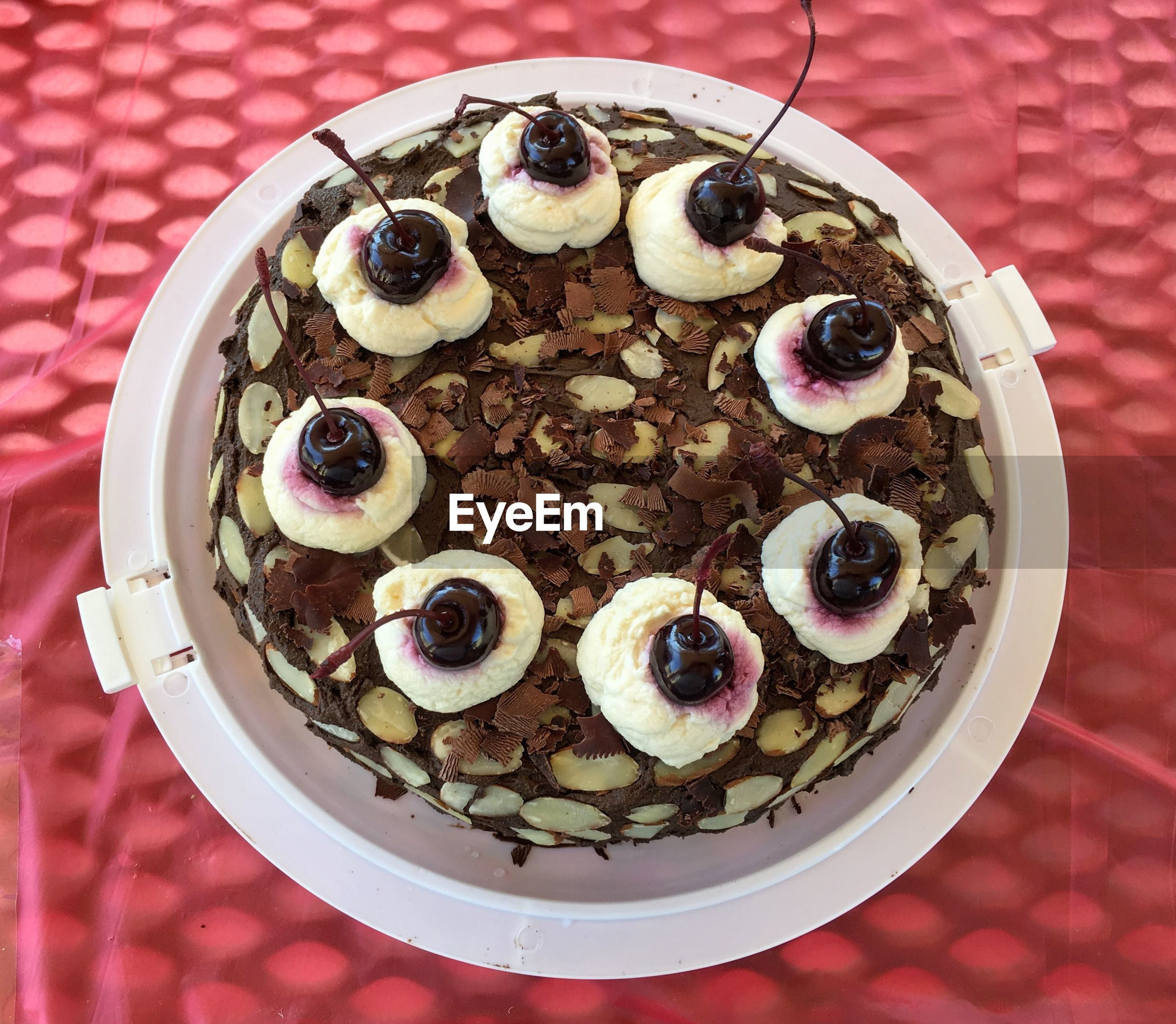 High angle view of homemade black forest cake on table
