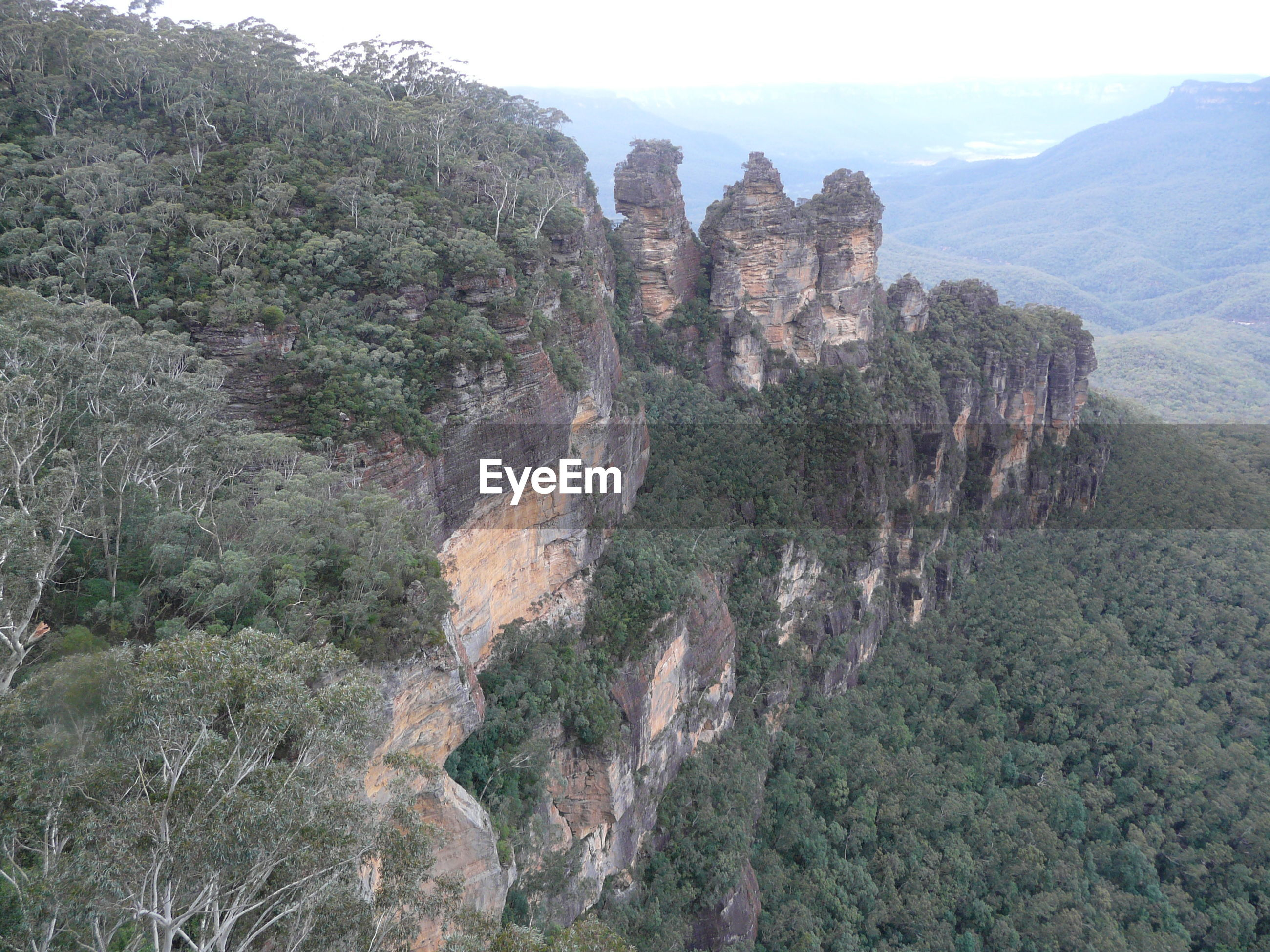 Scenic view of three sisters rock formation