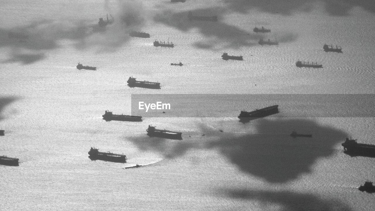 High Angle View Of Ships Sailing On Sea