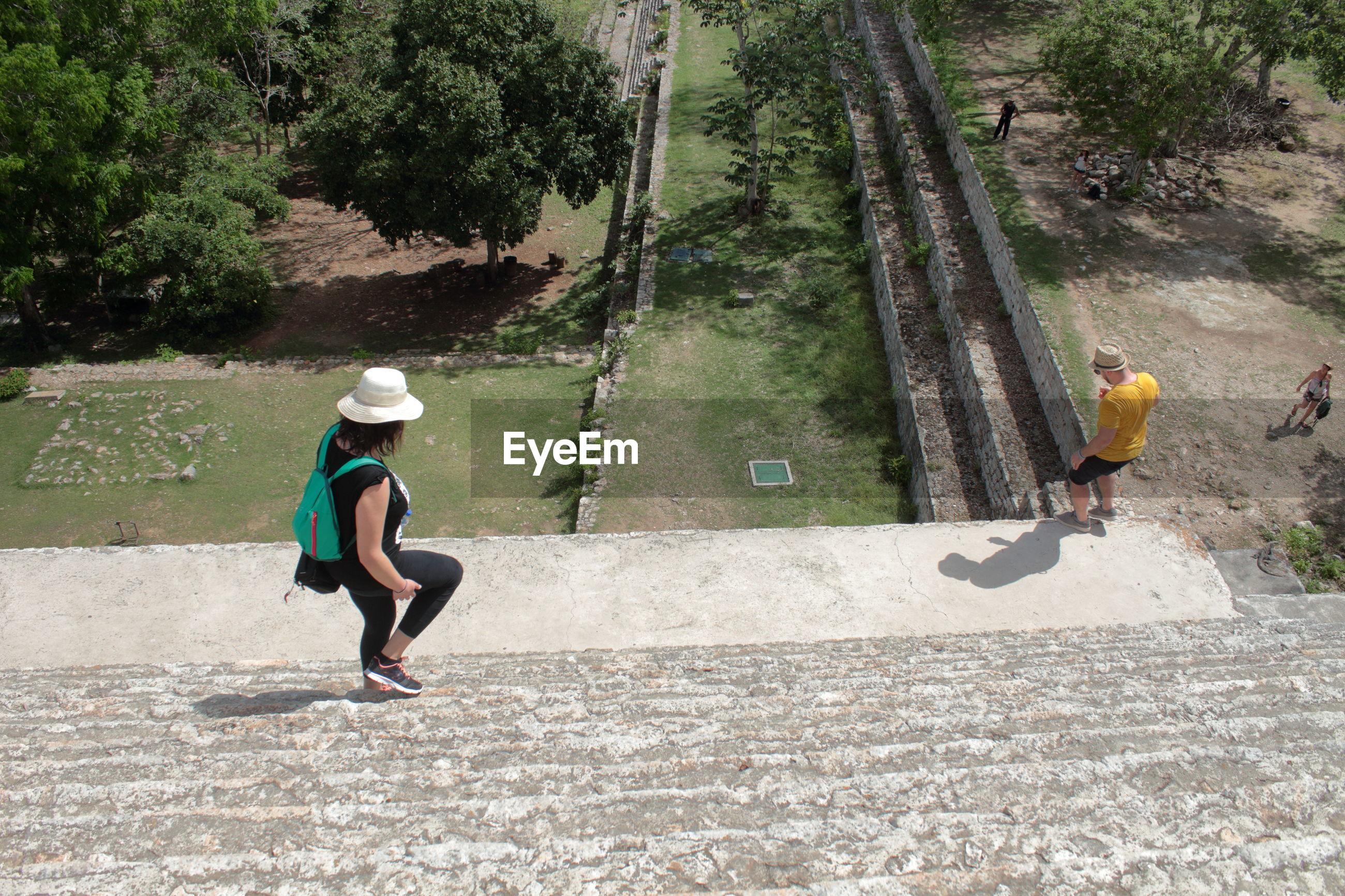 People walking on steps