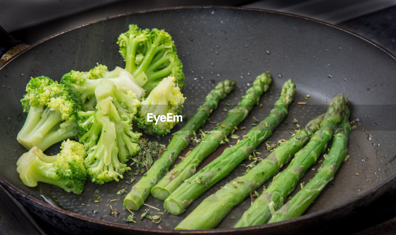 High Angle View Of Vegetables In Skillet
