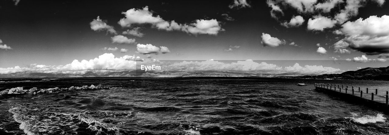 sky, sea, cloud - sky, beauty in nature, nature, tranquil scene, scenics, water, tranquility, no people, outdoors, day, landscape, wave