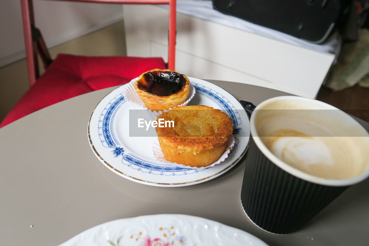 food and drink, food, table, freshness, plate, sweet food, ready-to-eat, dessert, indoors, sweet, serving size, still life, indulgence, cake, no people, baked, temptation, high angle view, focus on foreground, close-up, baked pastry item, tray, muffin, breakfast