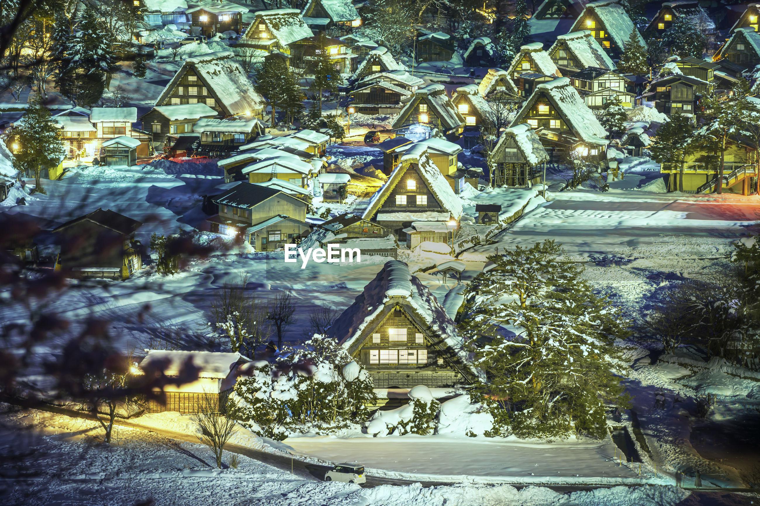 World heritage site shirakawago twightlight. historic village of shirakawago in winter. gifu, japan