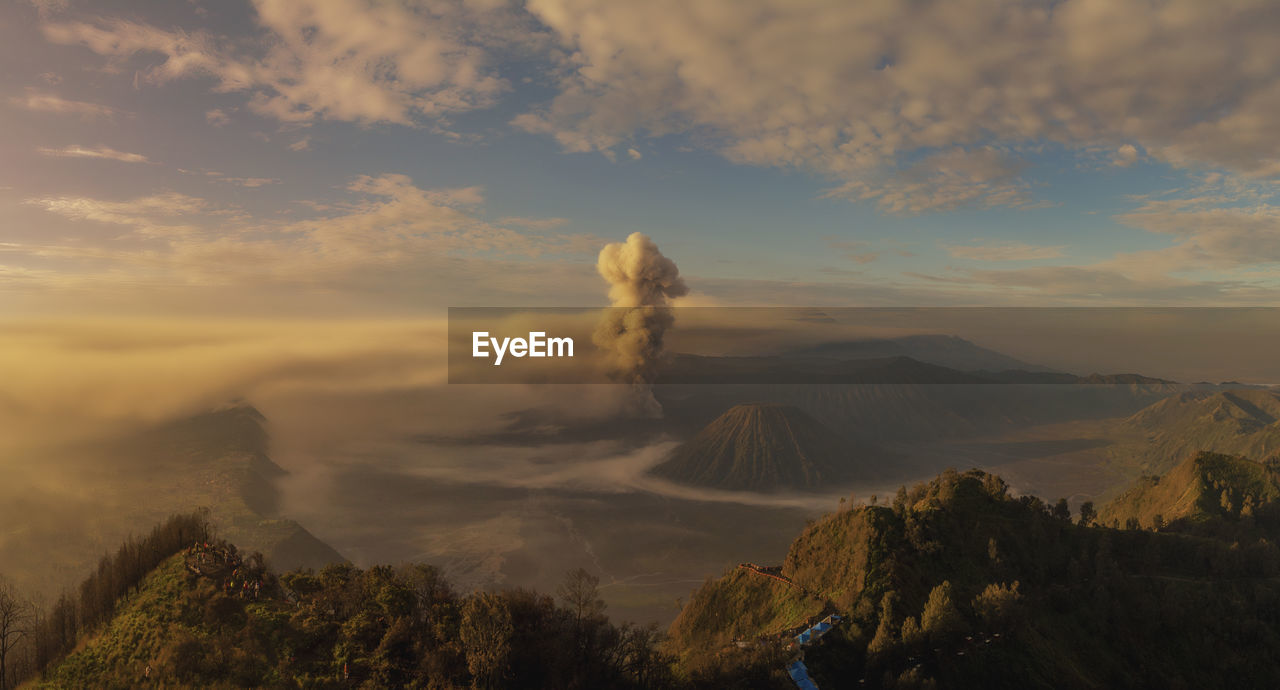 sky, cloud - sky, scenics - nature, mountain, beauty in nature, tranquil scene, tranquility, non-urban scene, idyllic, sunset, nature, environment, volcano, landscape, no people, remote, mountain range, outdoors, geology, physical geography, volcanic crater, mountain peak