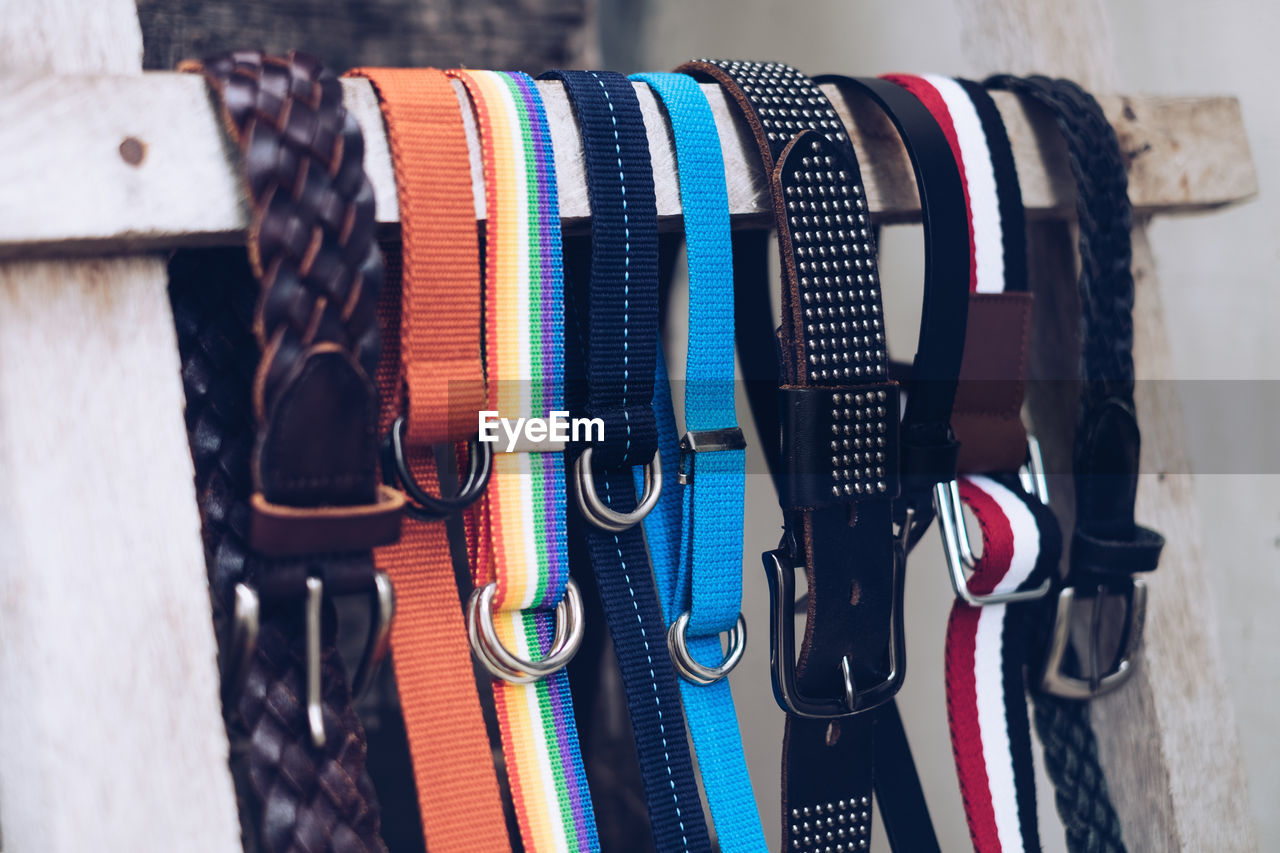 Close-Up Of Multicolored Belts