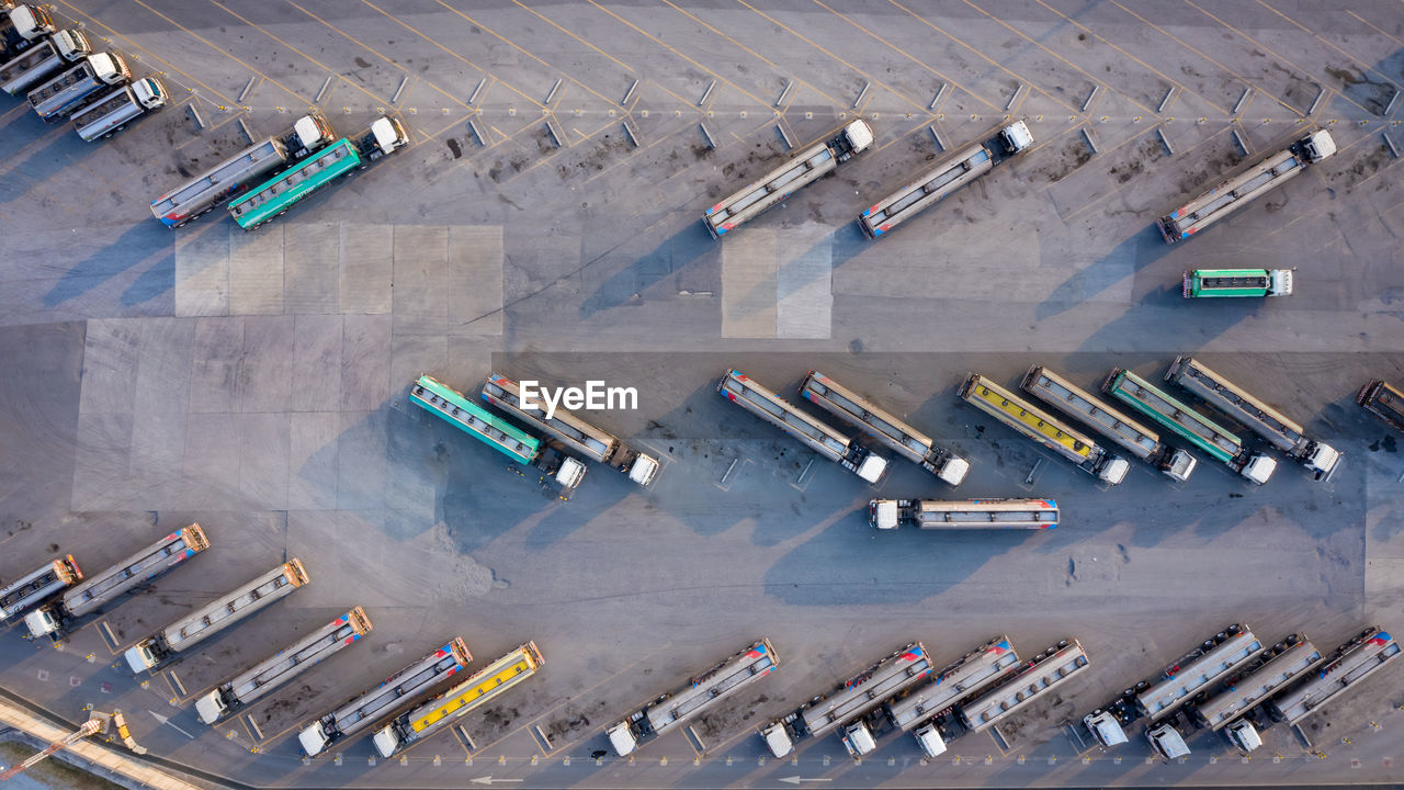 Aerial top view automobile or automotive fuel tankers business and industry fuel, semi truck