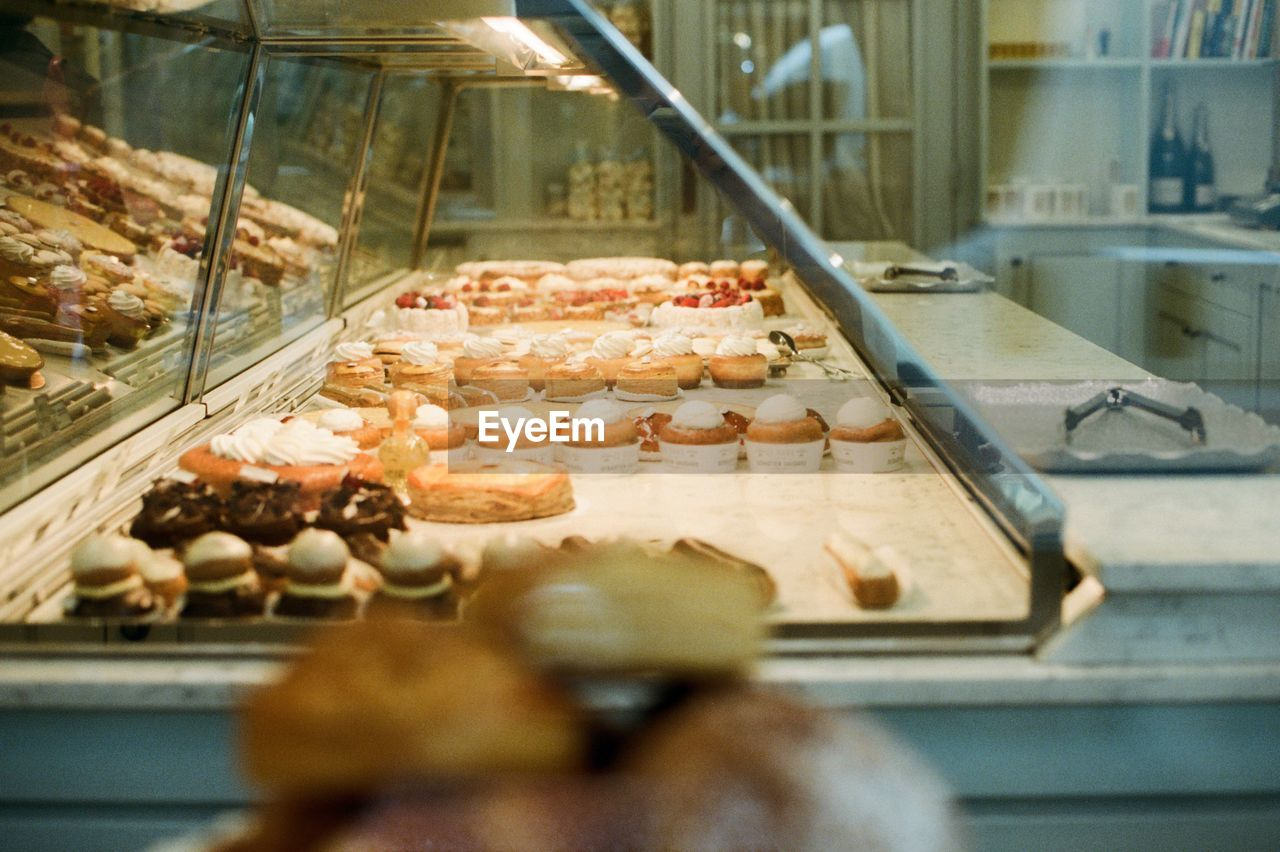Desserts for sale in bakery