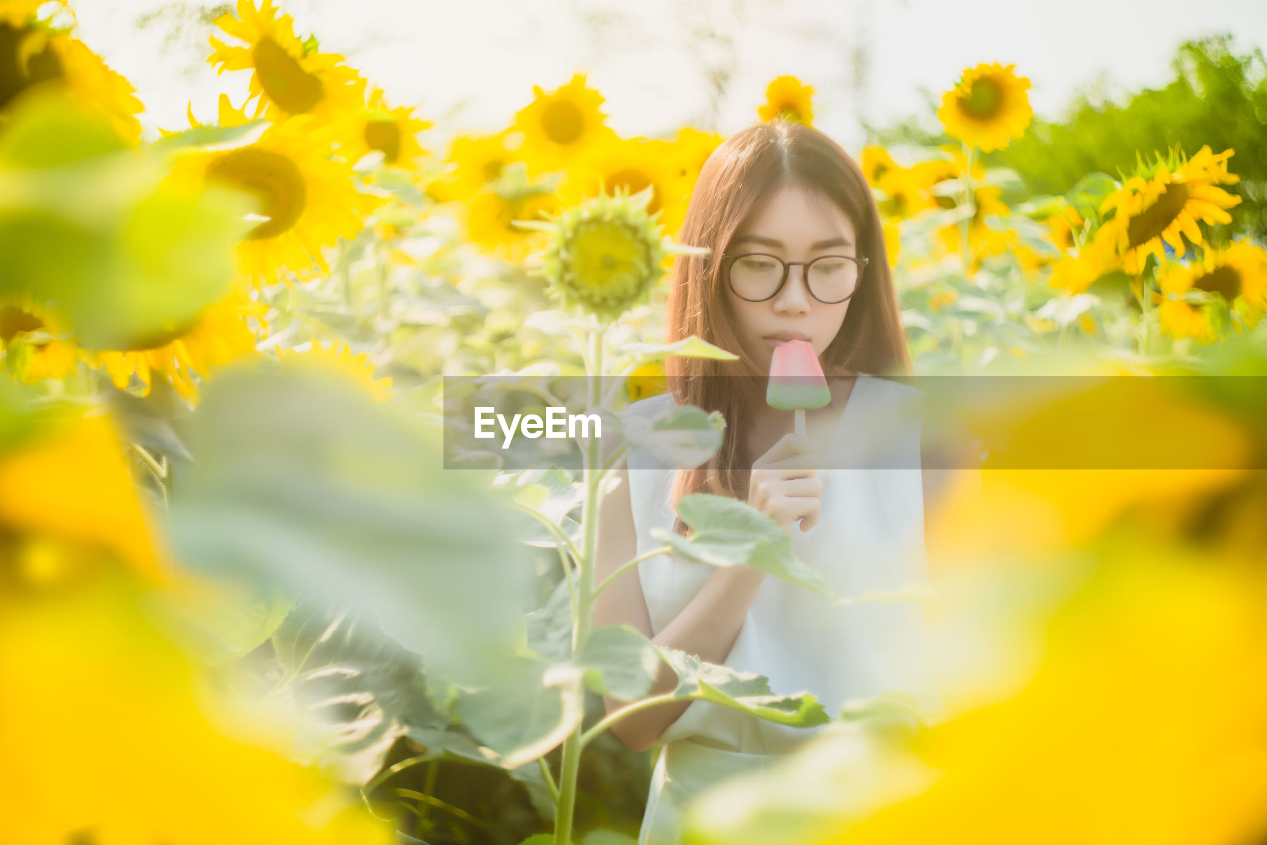 PORTRAIT OF WOMAN WITH YELLOW FLOWERS IN BLOOM