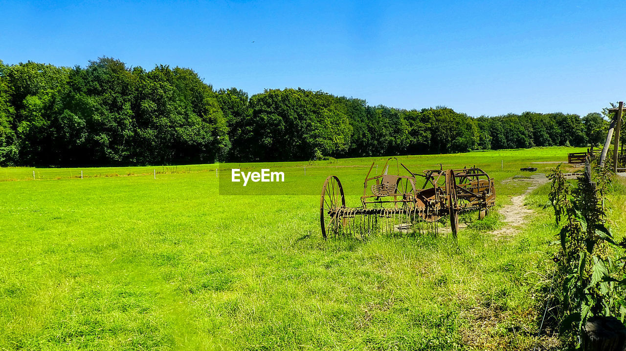 plant, green color, field, grass, land, tree, nature, growth, tranquil scene, tranquility, landscape, day, beauty in nature, environment, scenics - nature, sunlight, no people, agriculture, sky, machinery, outdoors, wheel