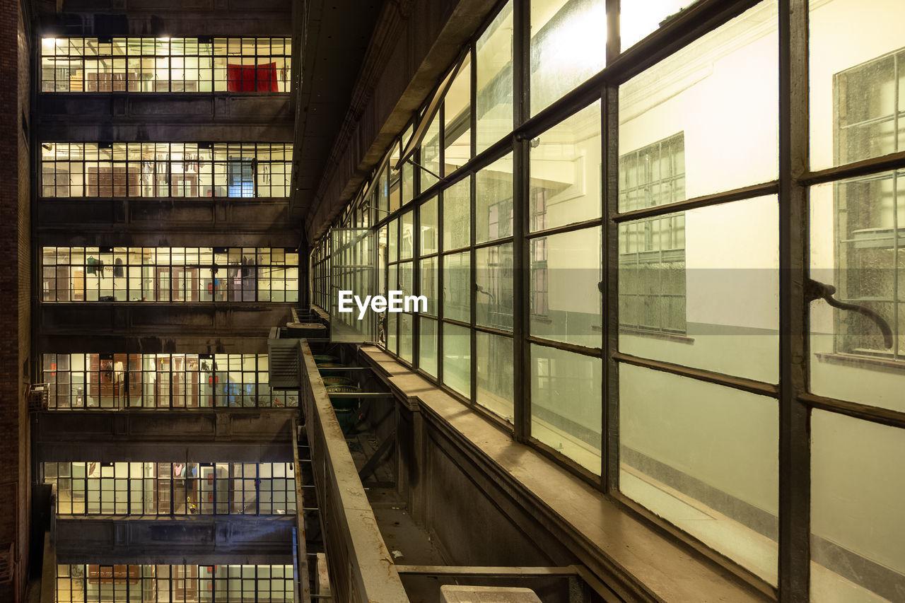 Building seen through glass window