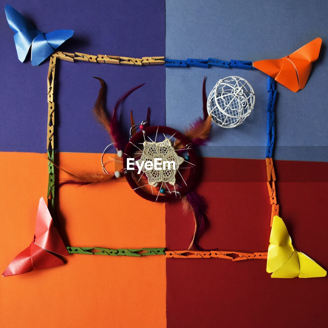 Directly above view of craft product on colorful table