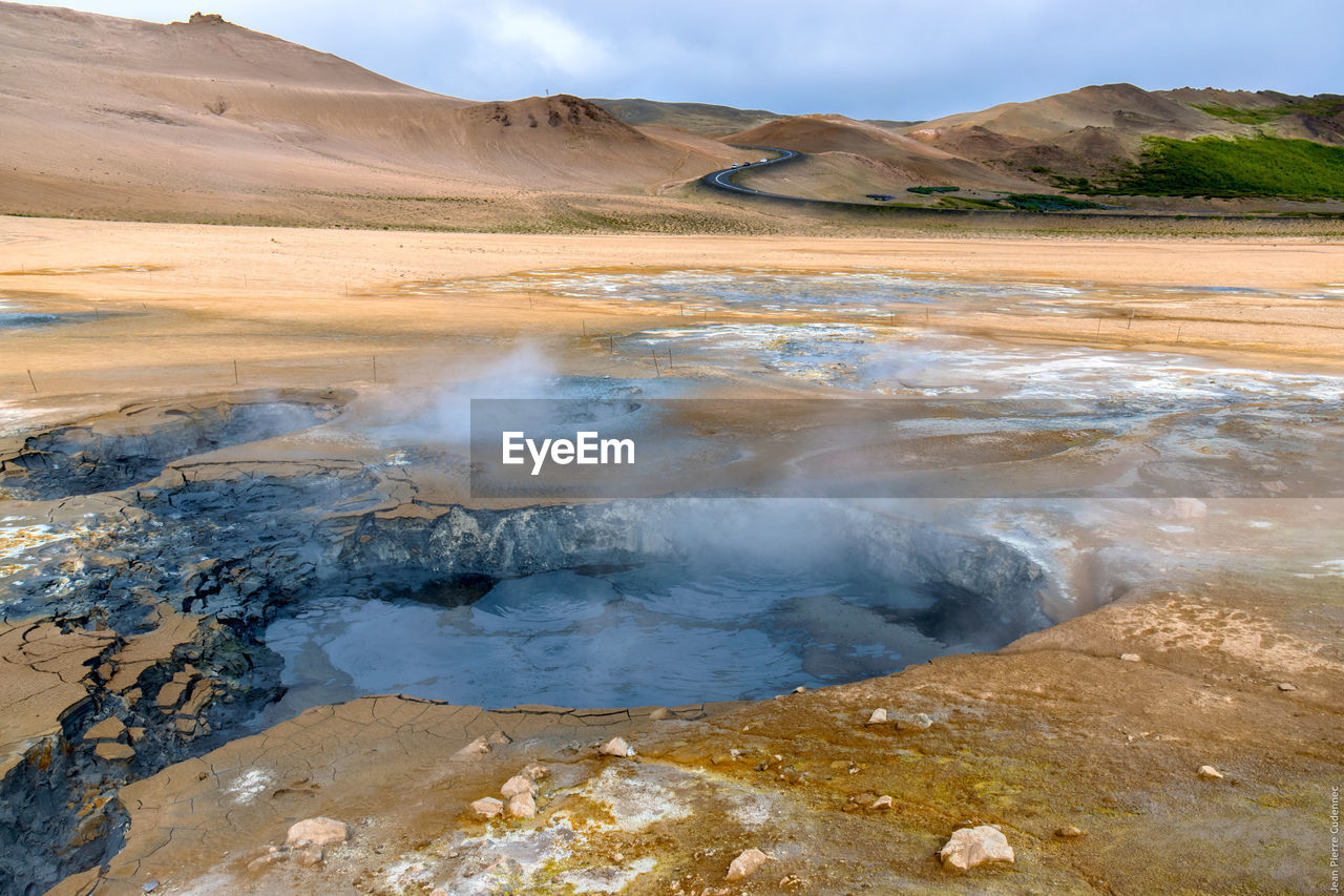 Steam Emitting From Mud Pots At Hverir