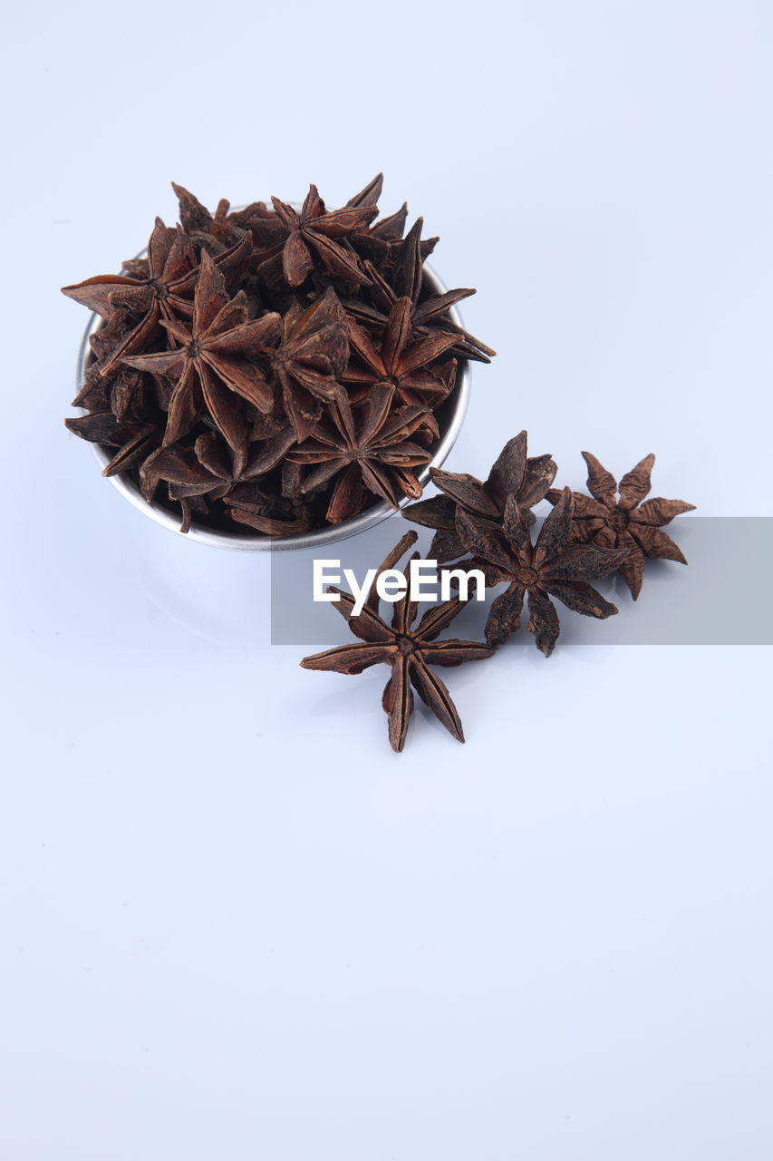 star anise, spice, food and drink, star shape, shape, indoors, food, still life, white background, studio shot, no people, brown, close-up, freshness, dried food, high angle view, design, ingredient, cinnamon, copy space, anise