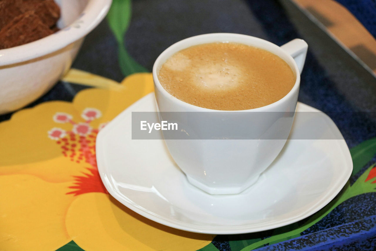 saucer, food and drink, coffee cup, drink, refreshment, table, coffee - drink, close-up, indoors, high angle view, freshness, no people, food, day