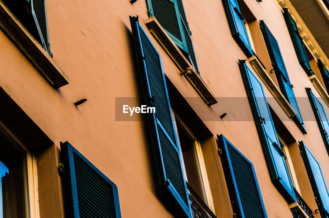 building exterior, architecture, built structure, no people, low angle view, outdoors, day, blue, multi colored