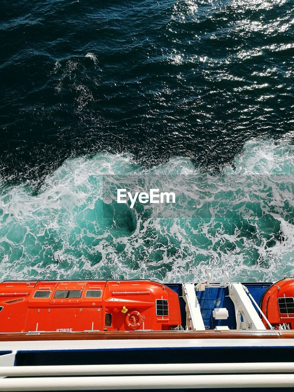 Directly Above Shot Of Cruise Ship On Sailing In Sea