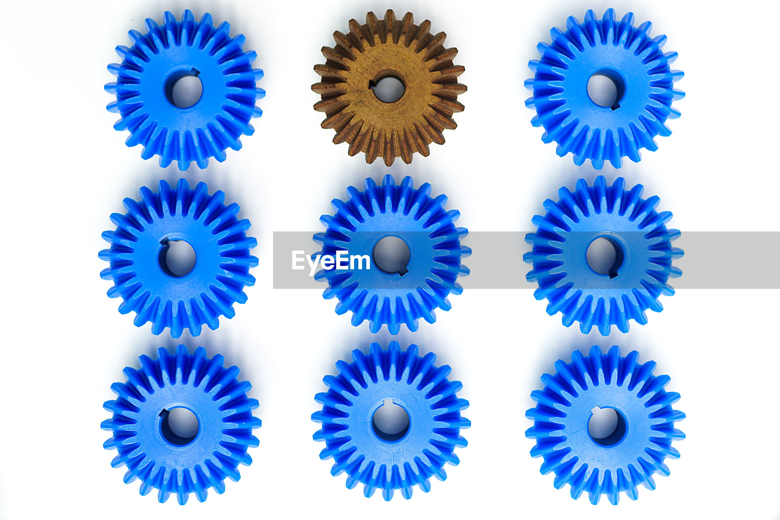 Full frame shot of blue gears against black background