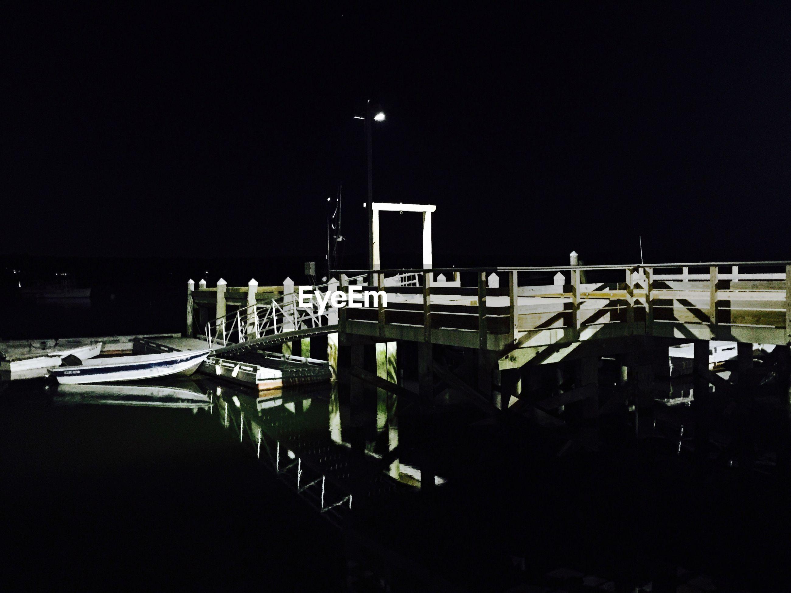 Pier on lake at night
