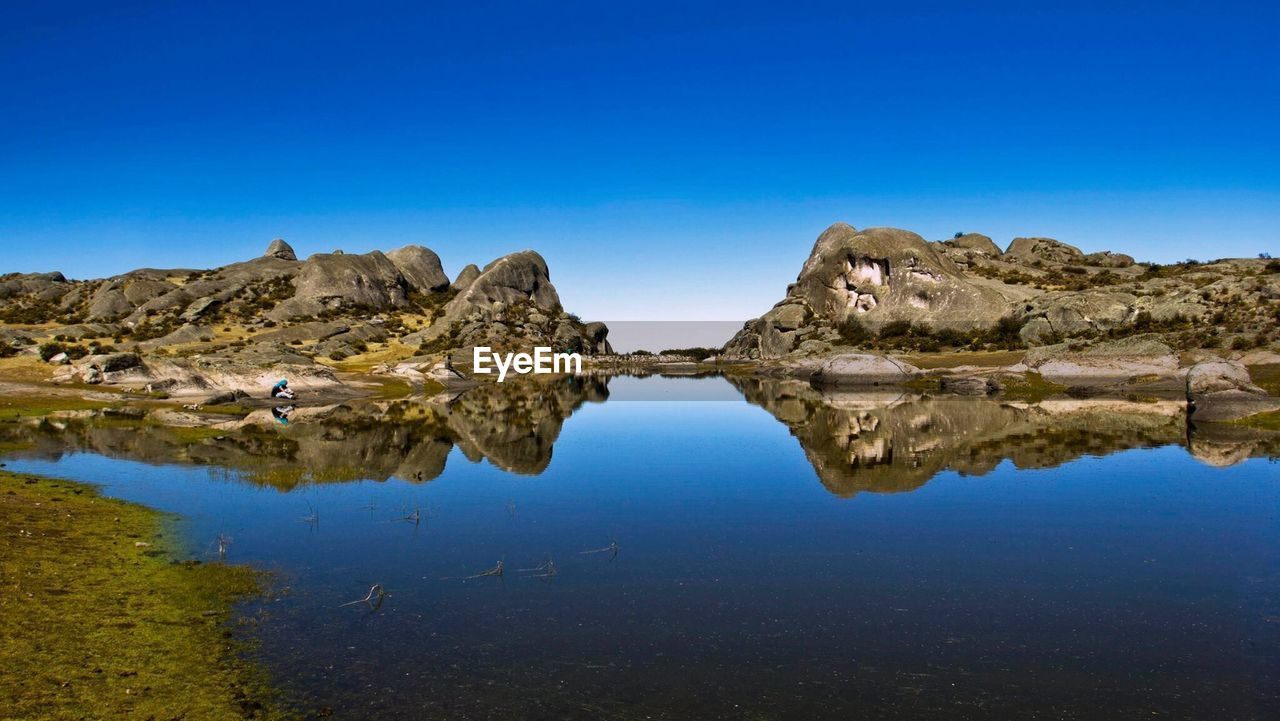 Reflection Of Rock Formations In Lake Against Clear Blue Sky