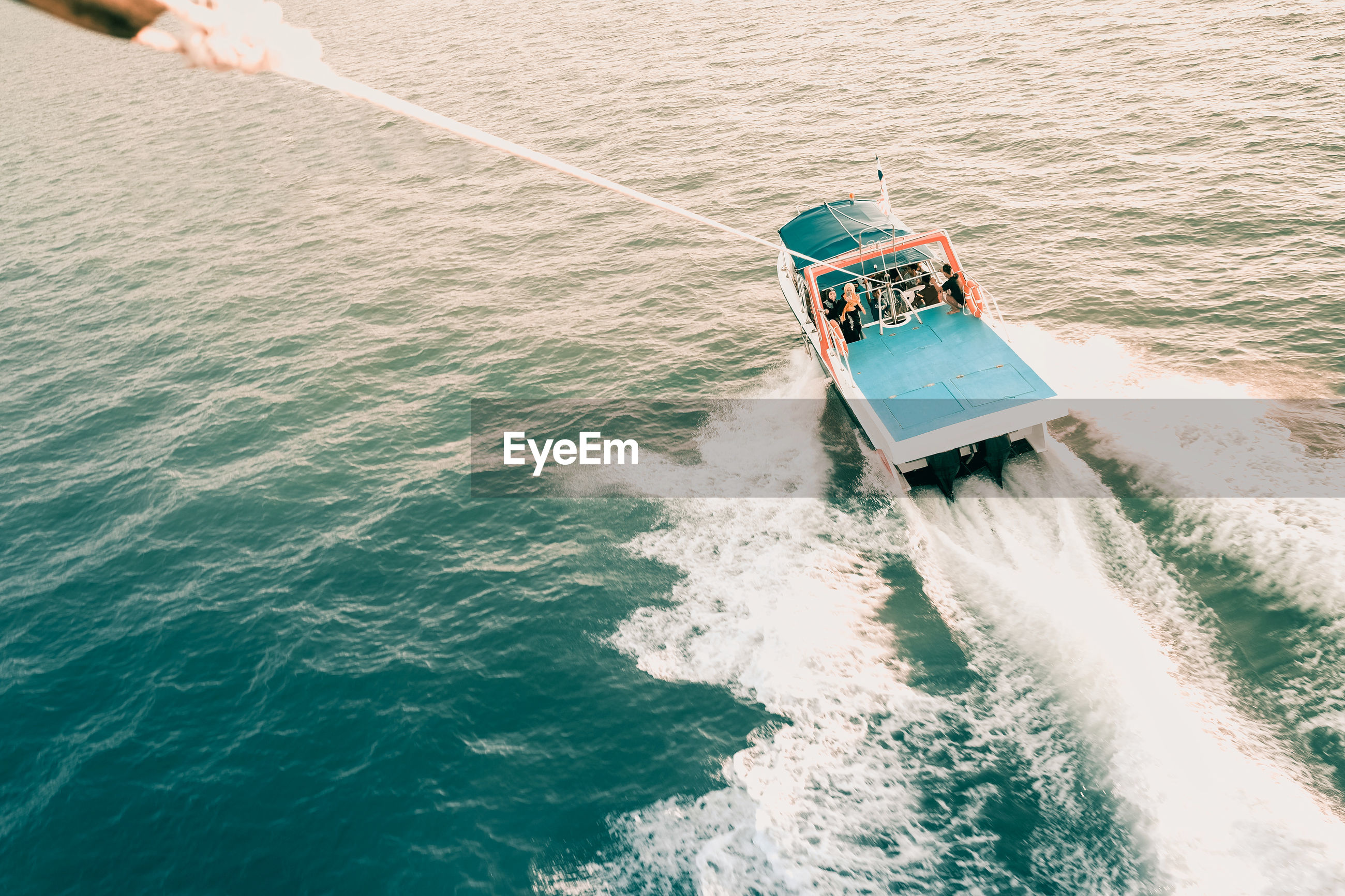 High angle view of nautical vessel in sea