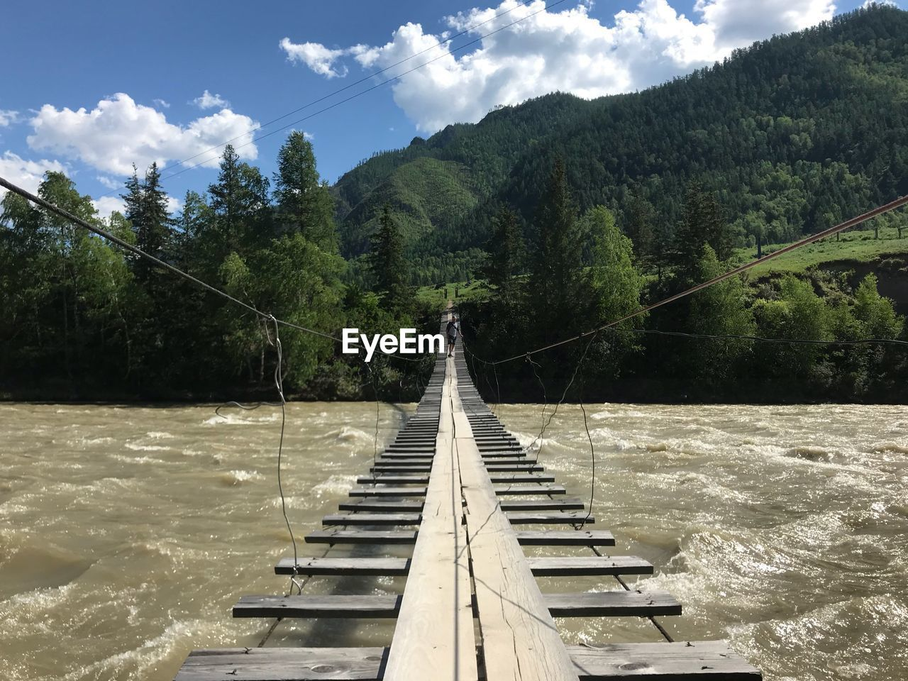 tree, nature, cloud - sky, plant, mountain, sky, connection, water, day, beauty in nature, forest, tranquility, no people, bridge, the way forward, scenics - nature, built structure, railing, outdoors, bridge - man made structure, footbridge