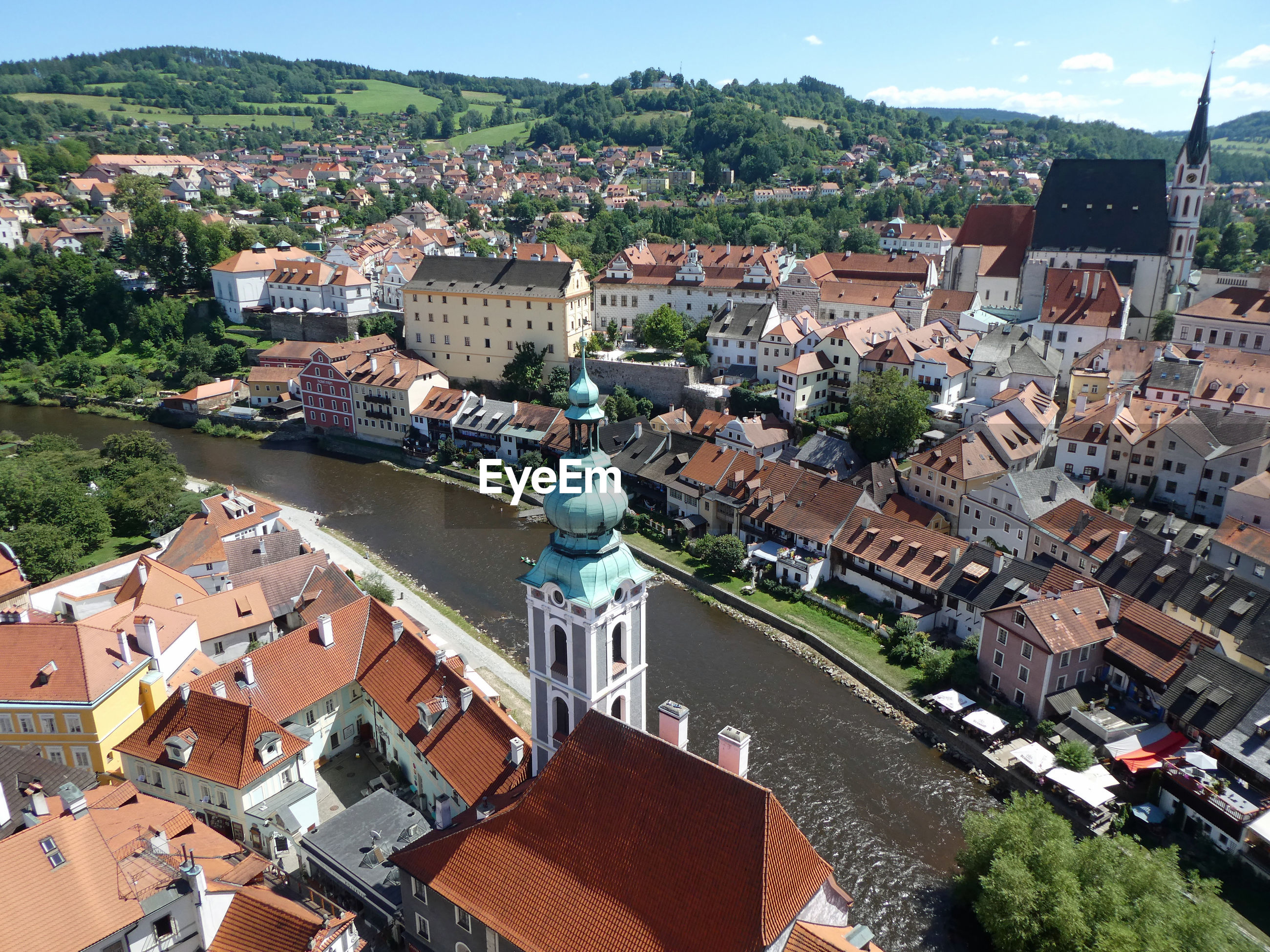 Aerial view of cesky krumlov from the castle
