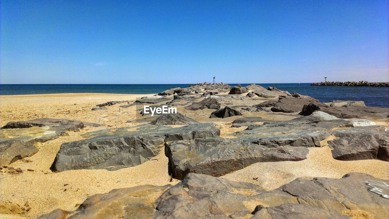 View of rocky beach against clear blue sky