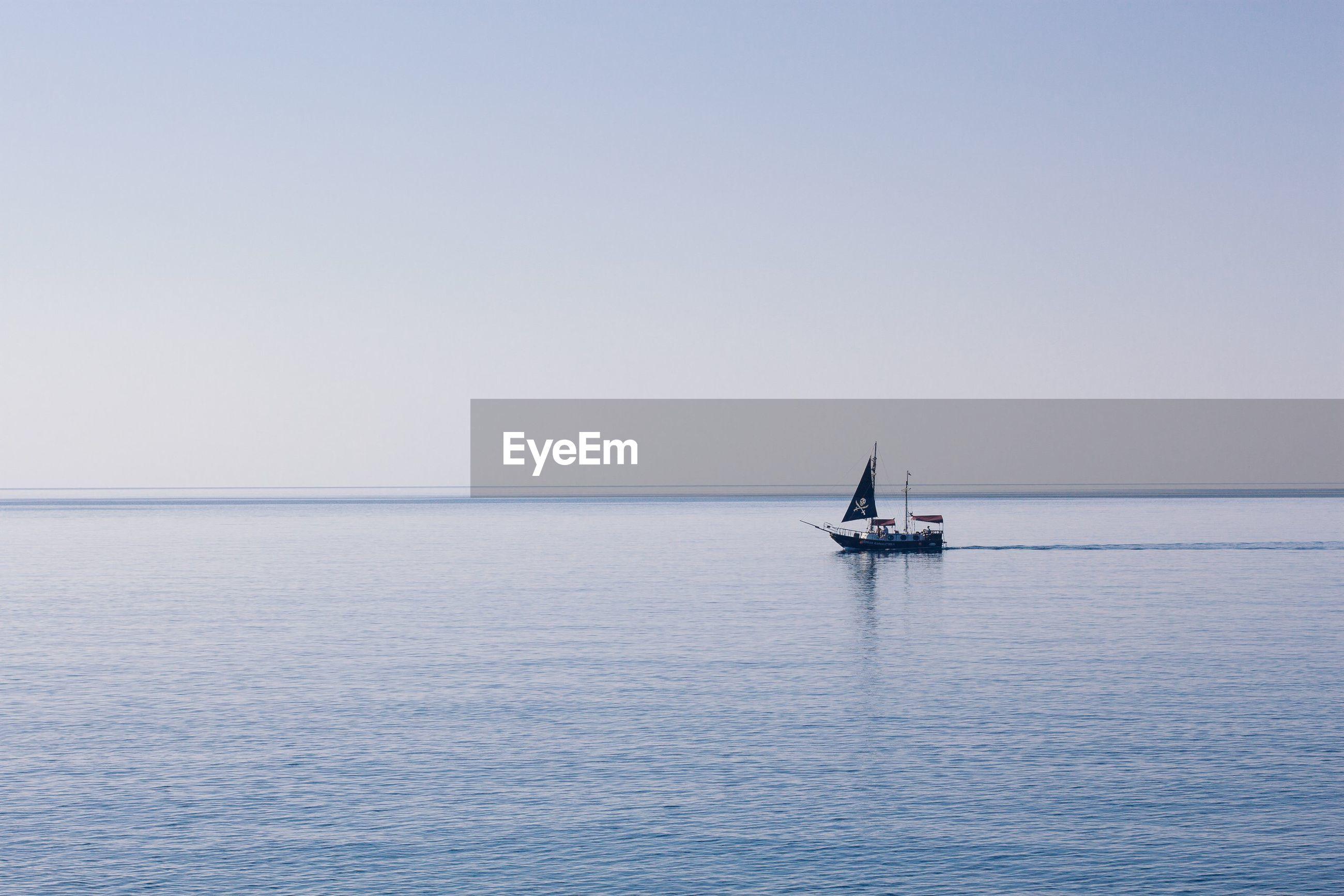 Nautical on sea against clear sky