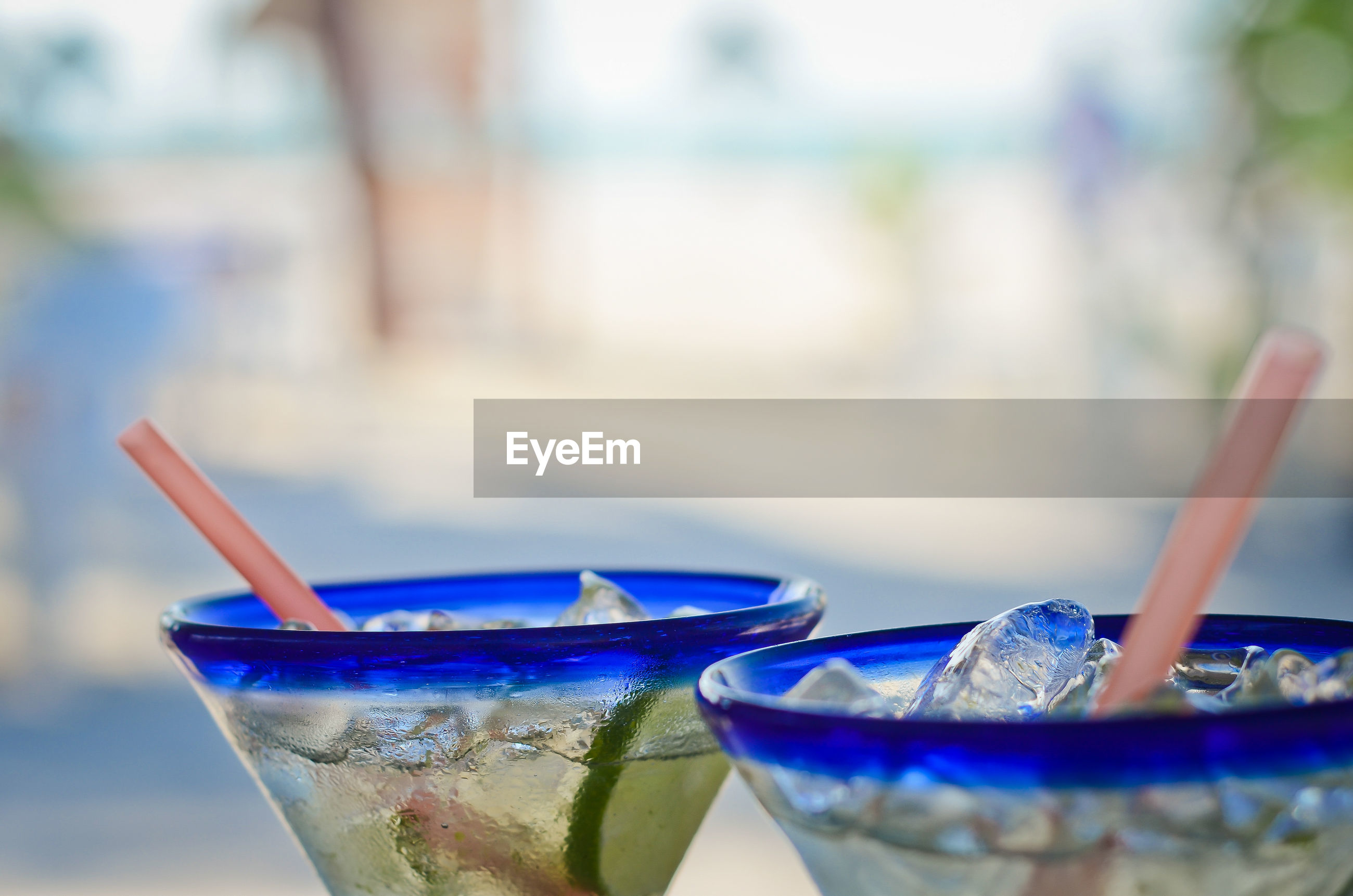 Close-up of cold drinks outdoors