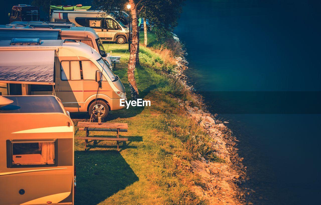 Caravans On Mountain By Sea