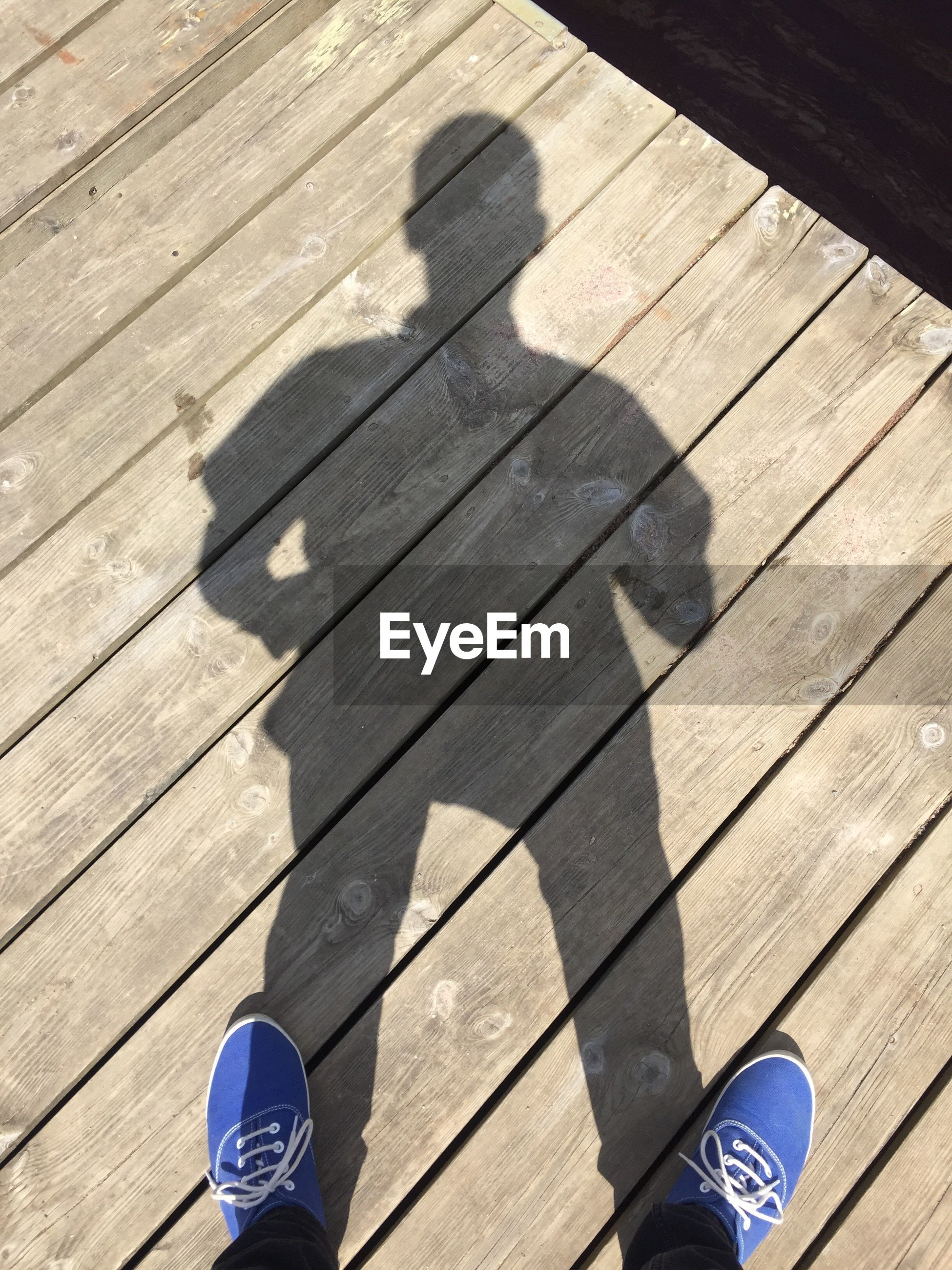 Low section of man standing on boardwalk with shadow