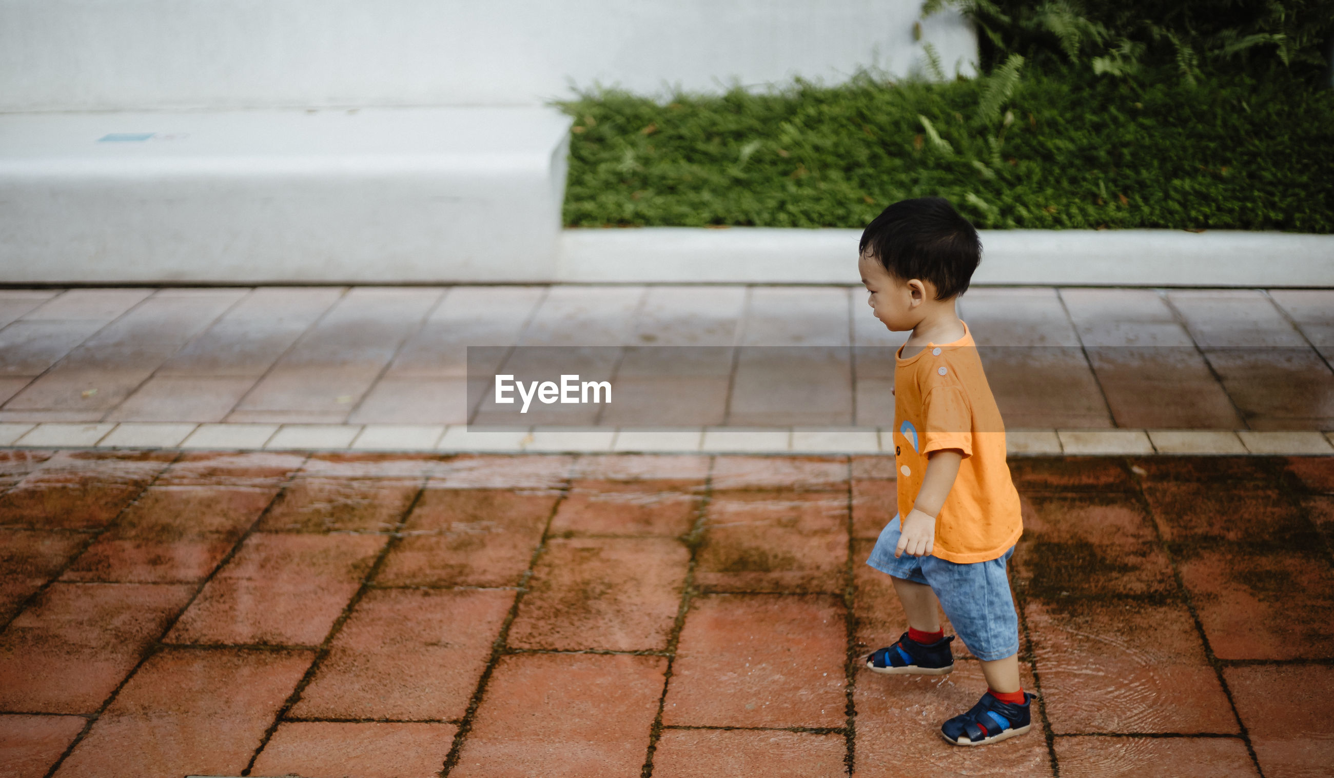 Side view of boy standing on footpath