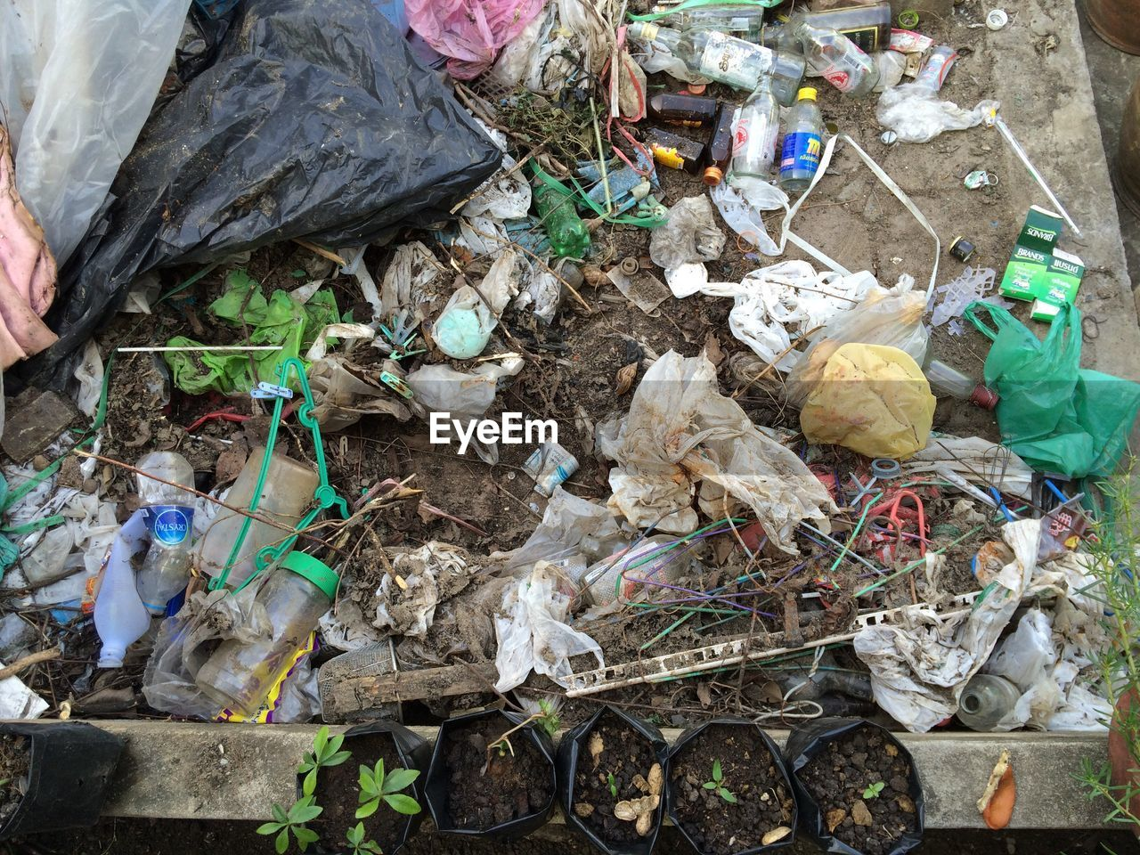 garbage, pollution, plastic, plastic bag, environmental issues, unhygienic, high angle view, dirty, bottle, waste management, day, no people, outdoors