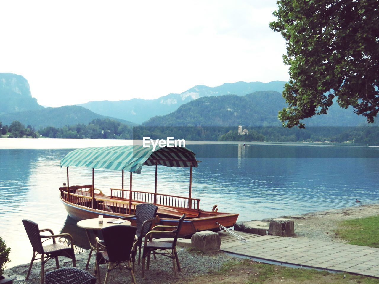 water, chair, table, mountain, nature, scenics, outdoors, absence, tranquility, no people, lake, day, beauty in nature, sky, tree