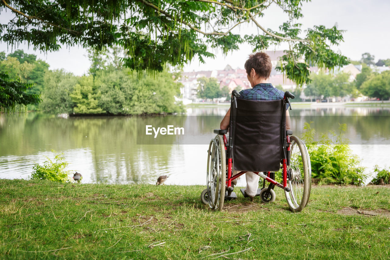 Woman Sitting On Wheelchair By Lake In Public Park