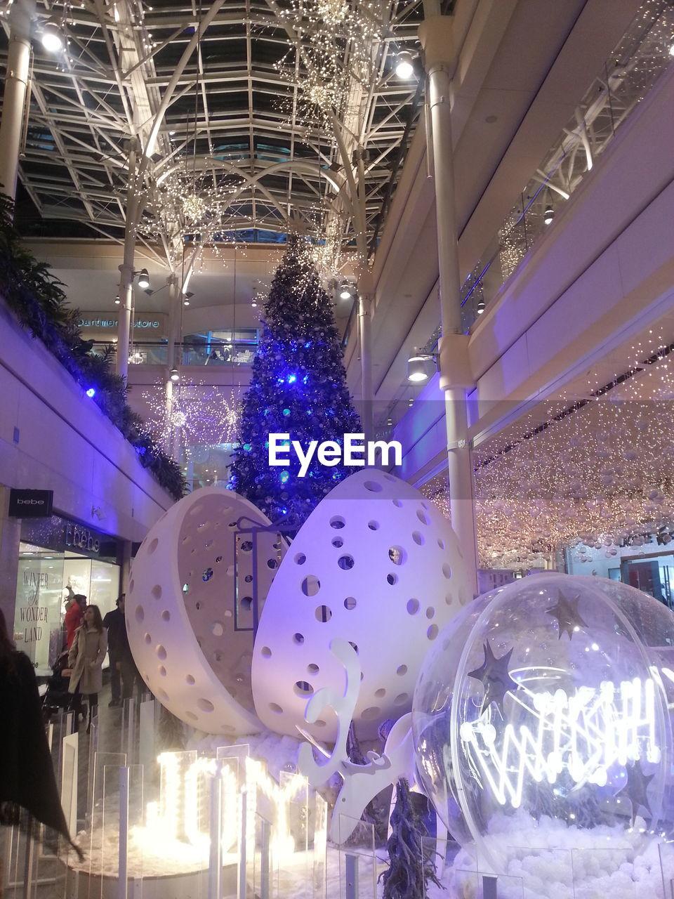 illuminated, celebration, lighting equipment, night, christmas decoration, christmas, indoors, christmas lights, low angle view, christmas ornament, no people, modern, architecture