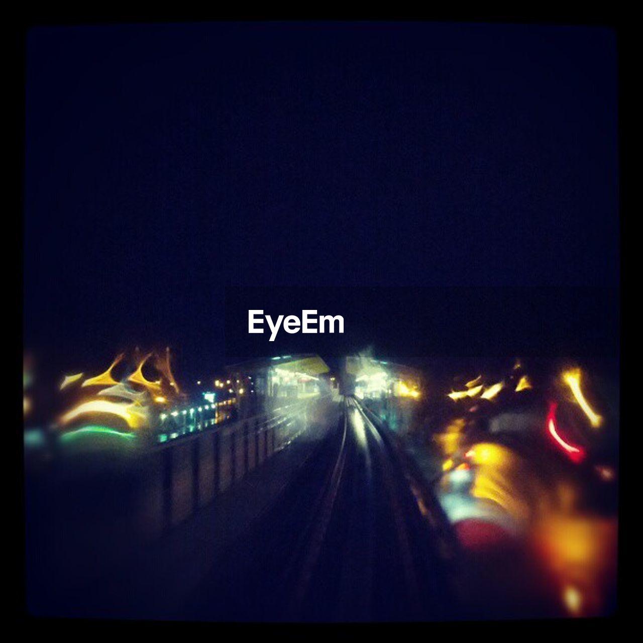 night, illuminated, transportation, outdoors, railroad track, no people