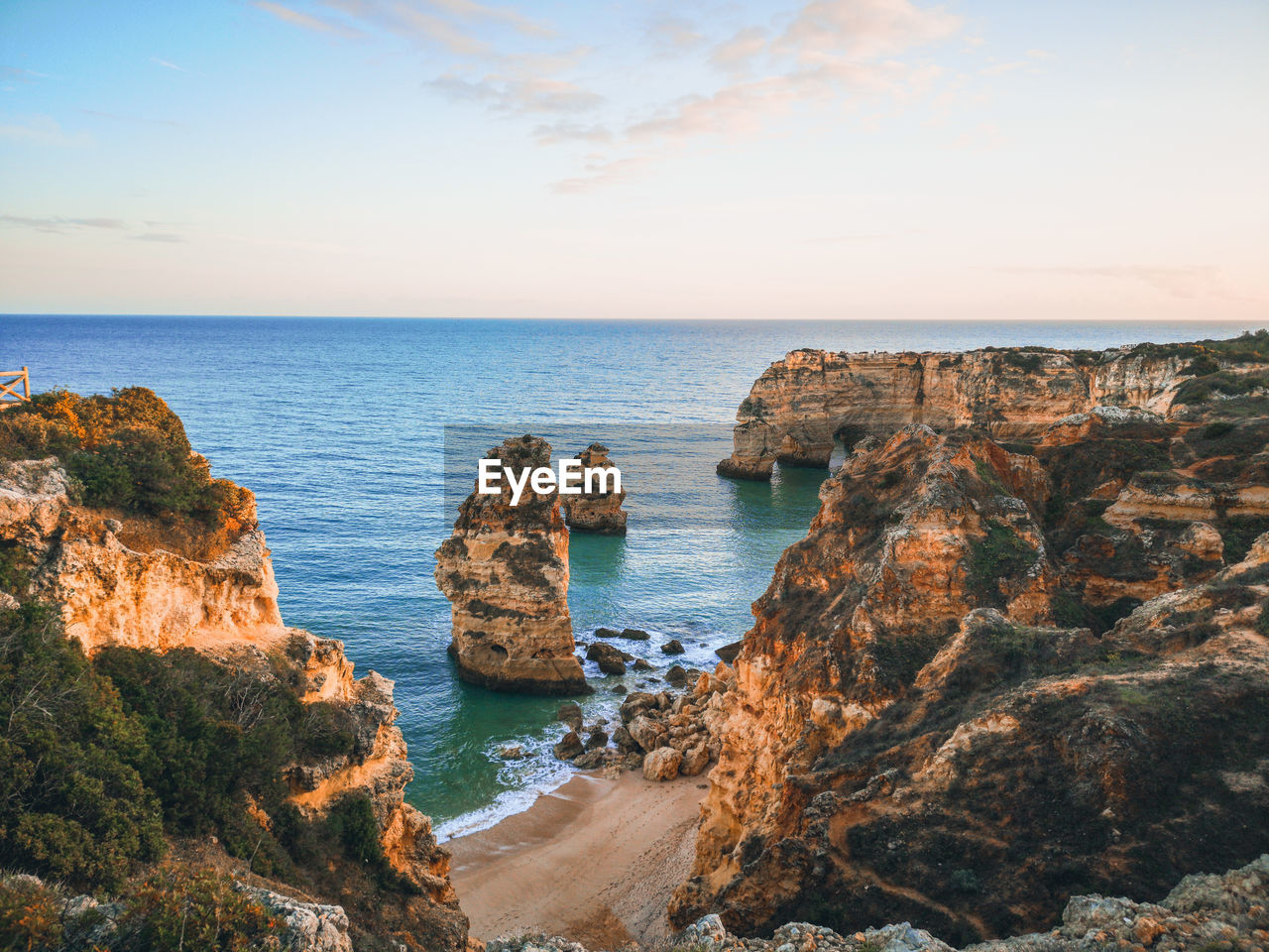 sea, water, horizon over water, horizon, sky, scenics - nature, beauty in nature, rock, tranquil scene, land, rock - object, solid, tranquility, beach, rock formation, idyllic, nature, no people, sunset, outdoors, rocky coastline, stack rock, eroded