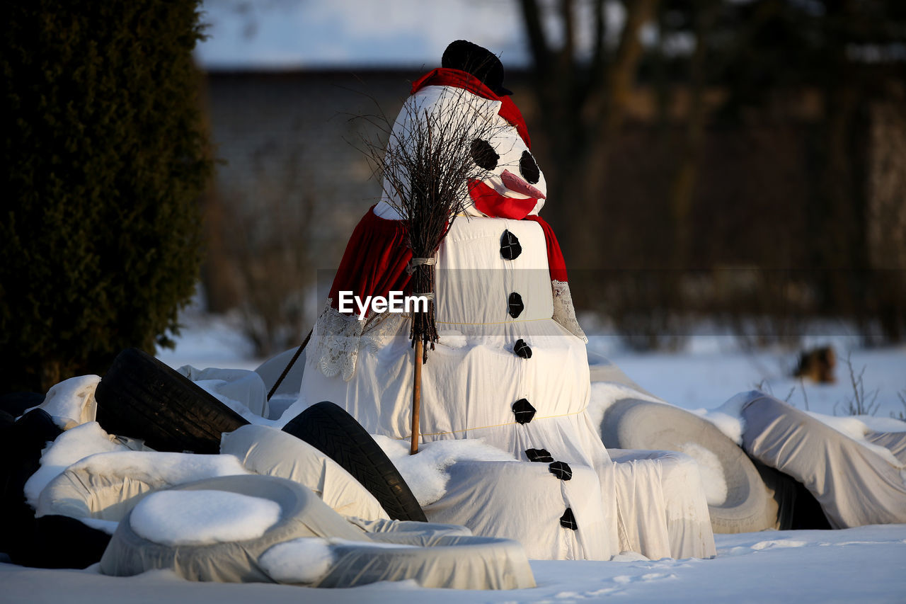 Close-Up Of Sculpture On Snow