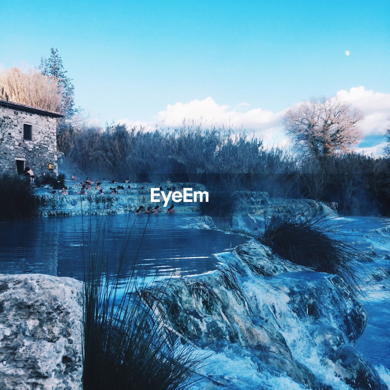 water, cold temperature, winter, sky, architecture, nature, built structure, tree, beauty in nature, snow, building exterior, no people, day, plant, tranquil scene, scenics - nature, tranquility, building, outdoors, flowing water, flowing