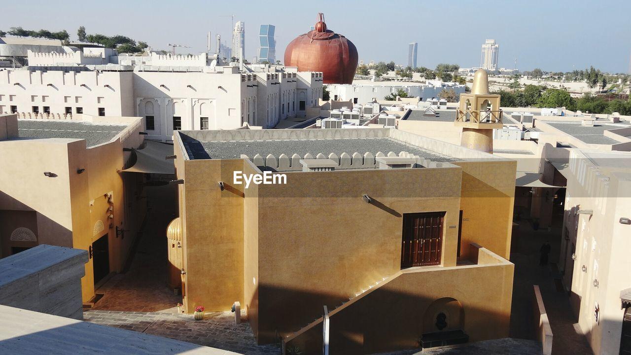 Gold Mosque Against Sky At Katara