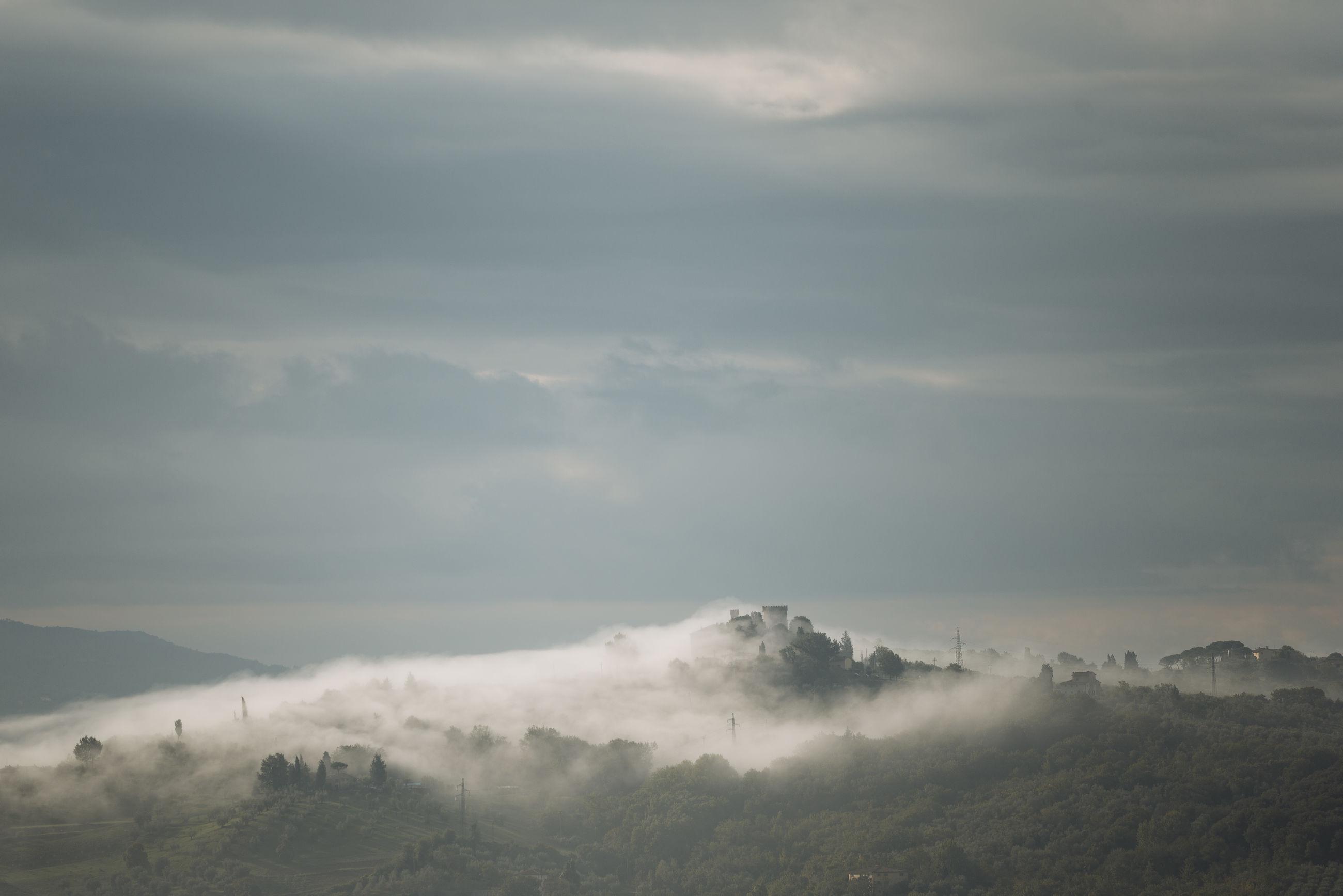 High angle shot of misty landscape