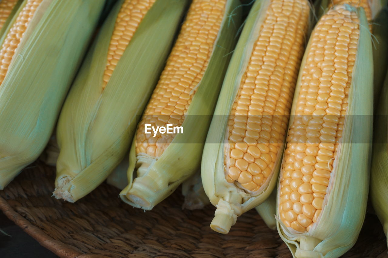 High Angle View Of Corn For Sale At Market Stall