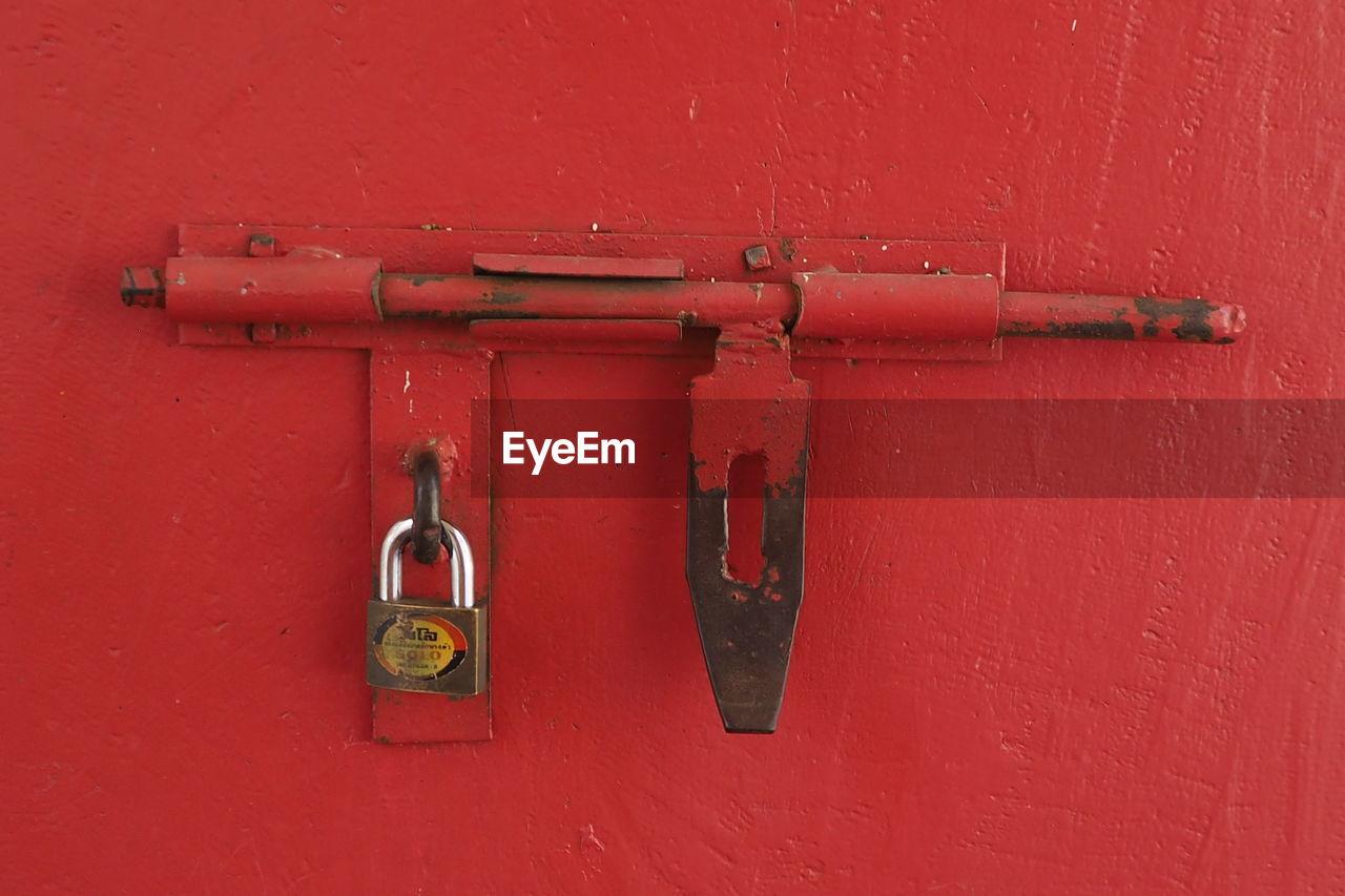 Full frame shot of red door