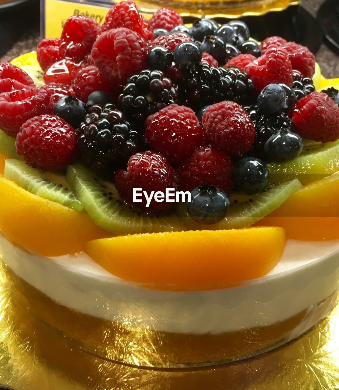 Close-up of fruit cake in plate