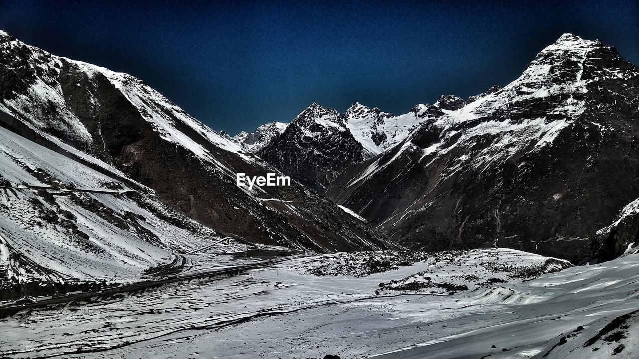 snow, mountain, cold temperature, winter, snowcapped mountain, nature, weather, tranquil scene, beauty in nature, scenics, tranquility, mountain range, outdoors, day, no people, sky, clear sky