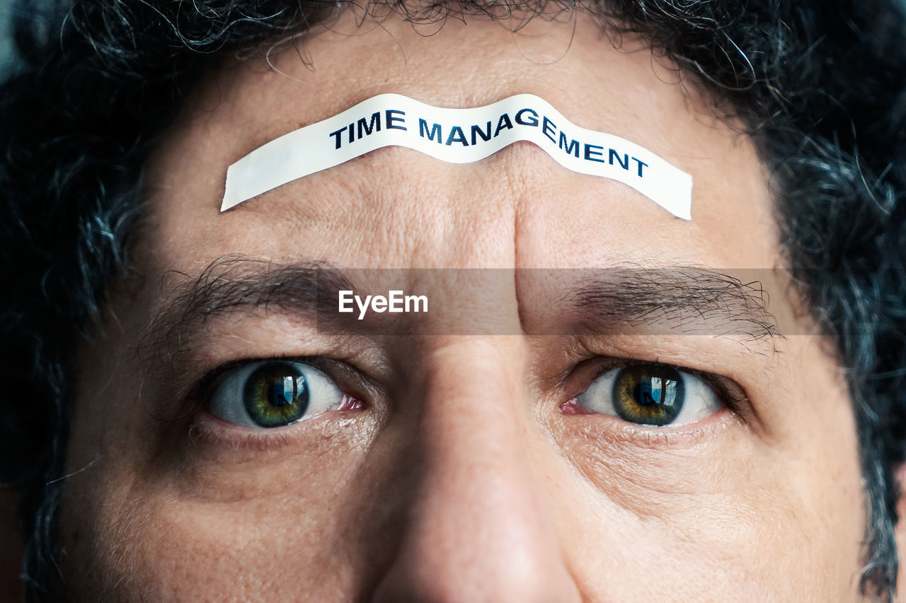 Digital Composite Image Of Man With Time Management Text On Forehead