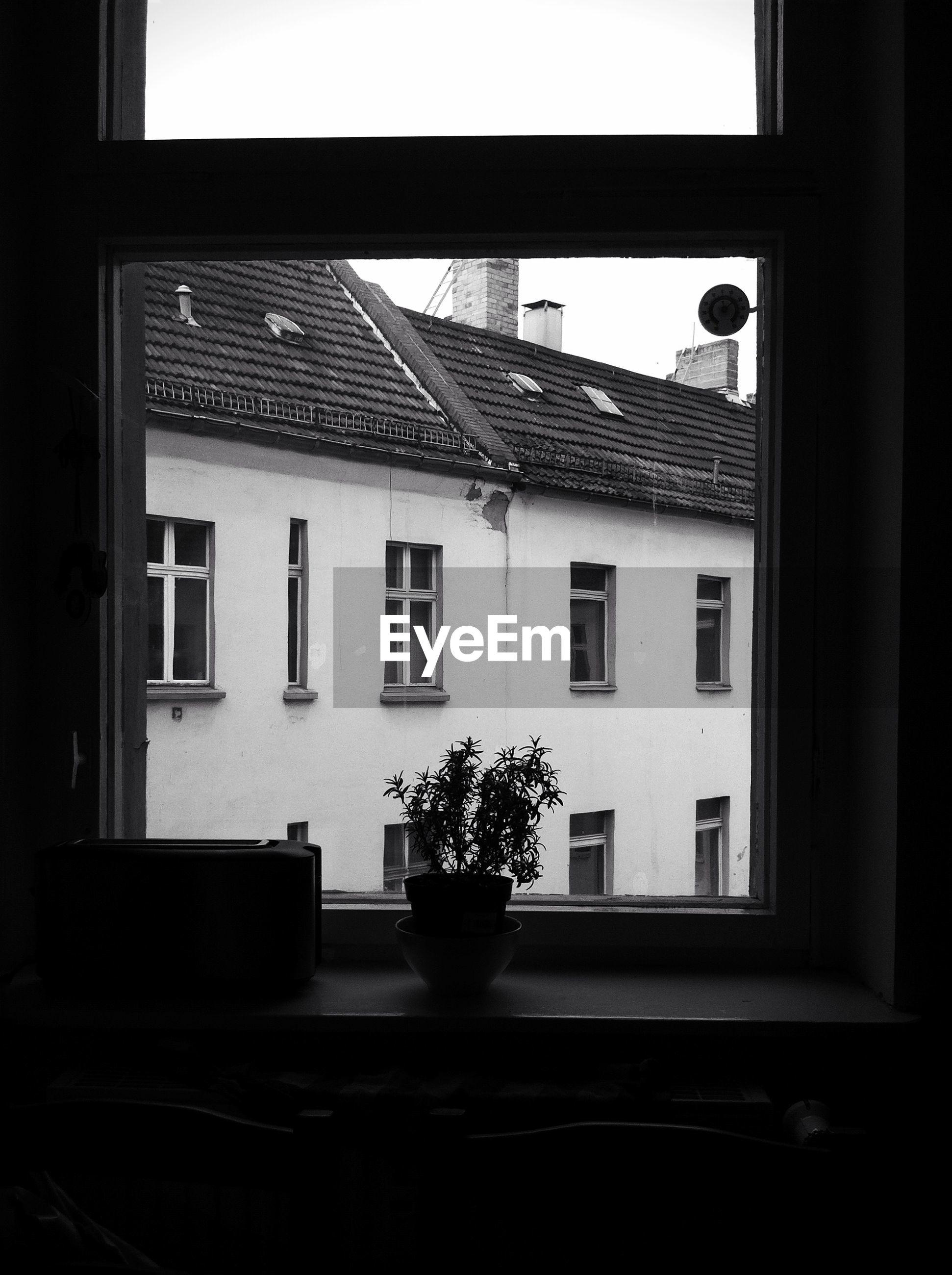 House seen through window